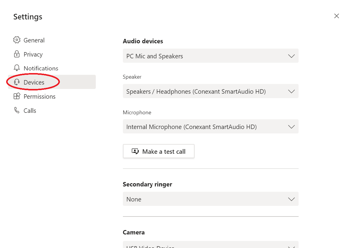 Microsoft Teams device settings menu