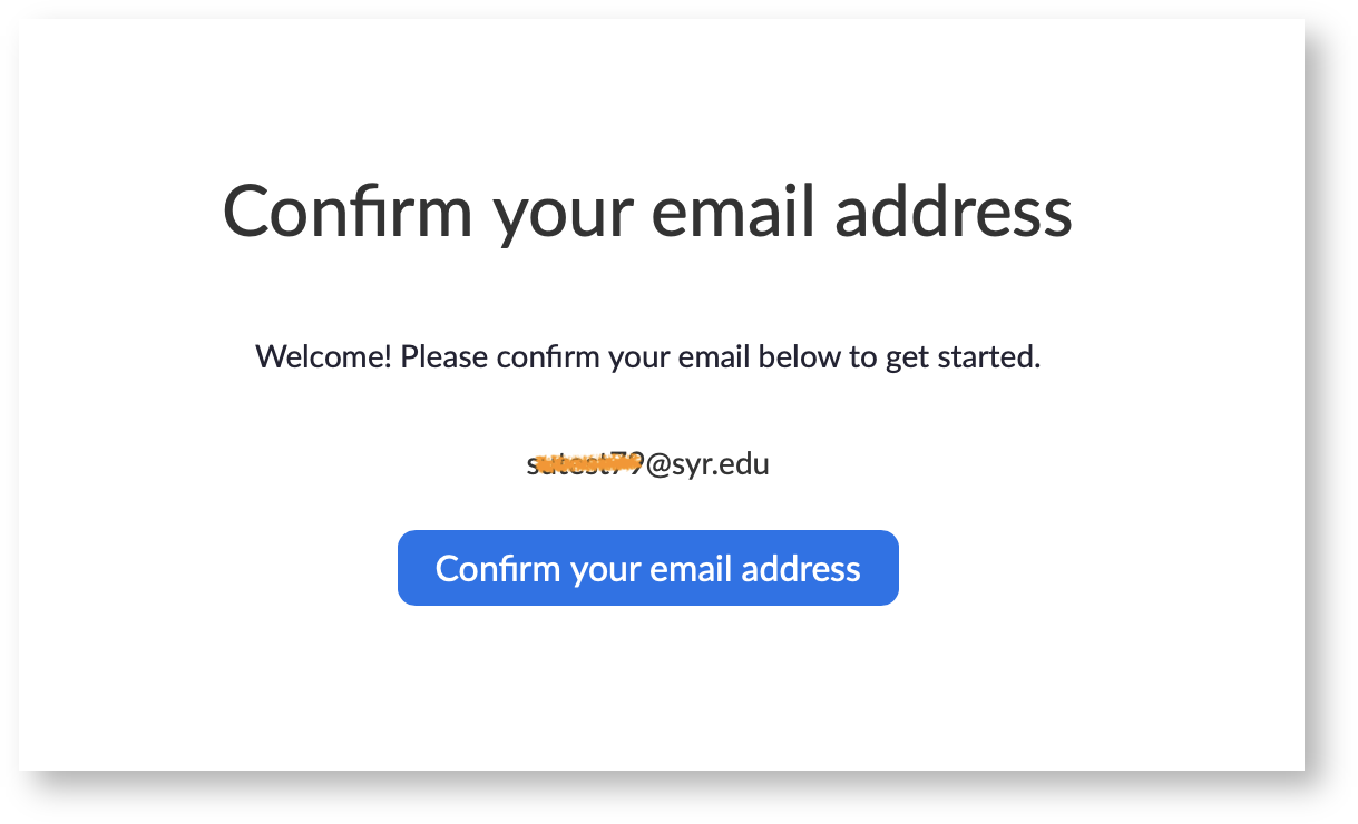 a screen shot showing the button for confirm your email address