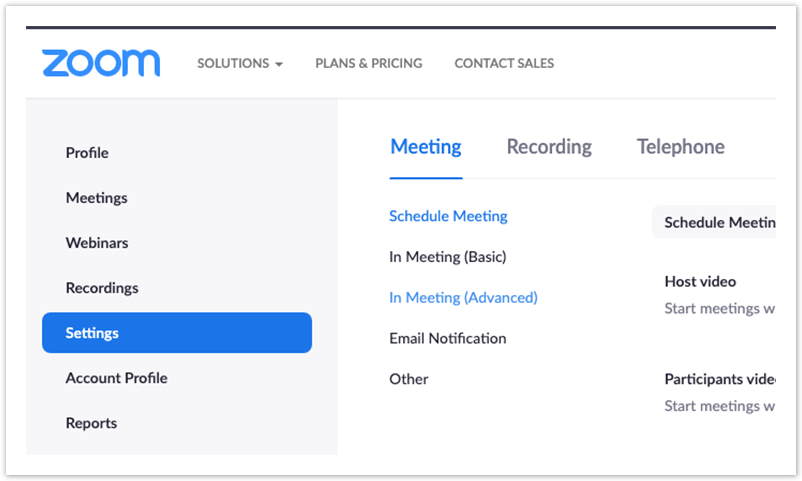 Zoom Webportal navigation menu. Settings and In Meeting tabs are selected