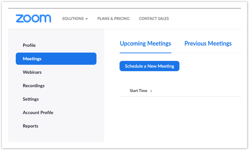 Zoom webportal screenshot of meetings and schedule a new meeting tabs selected