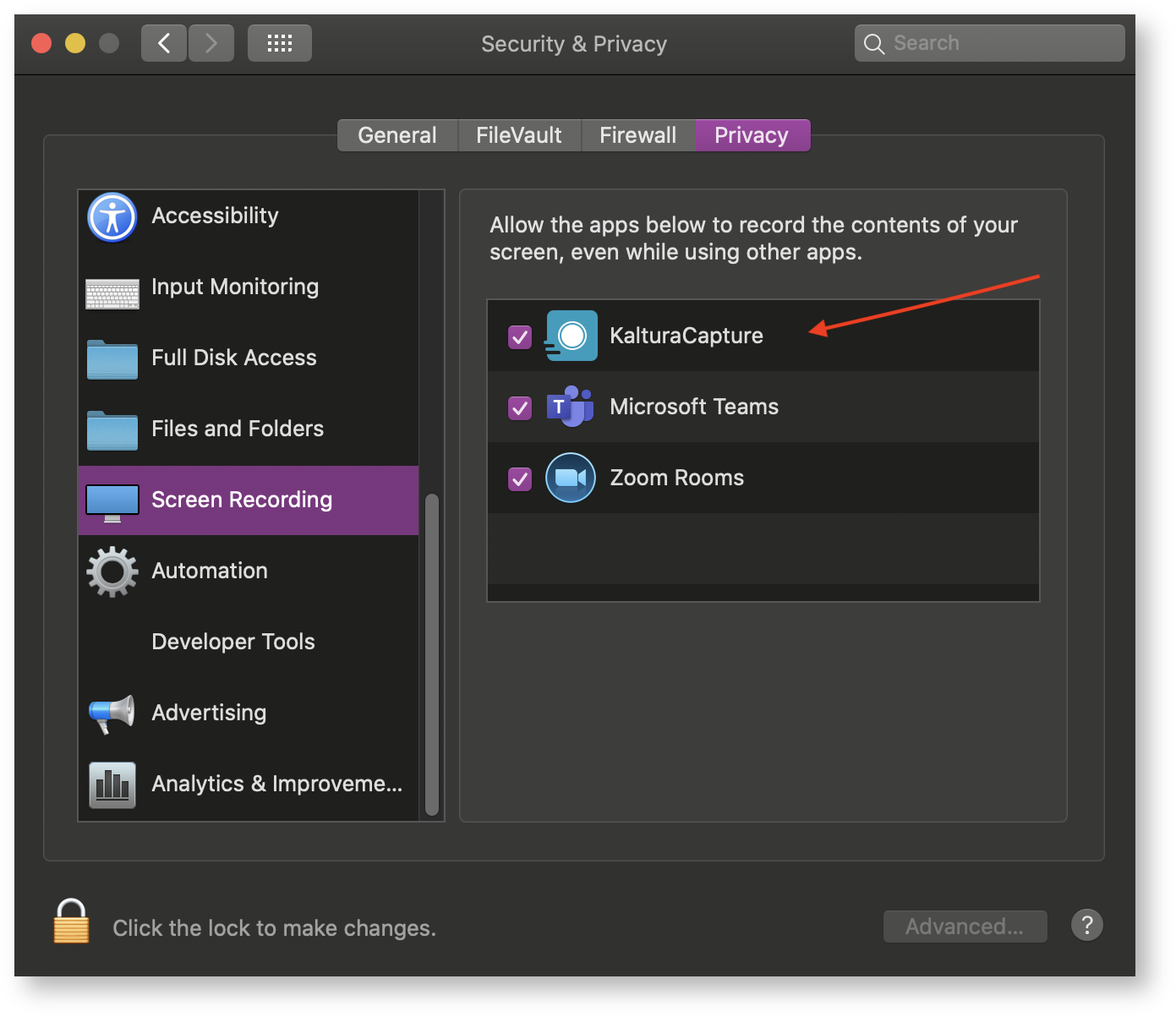 Privacy Settings for Screen Recording