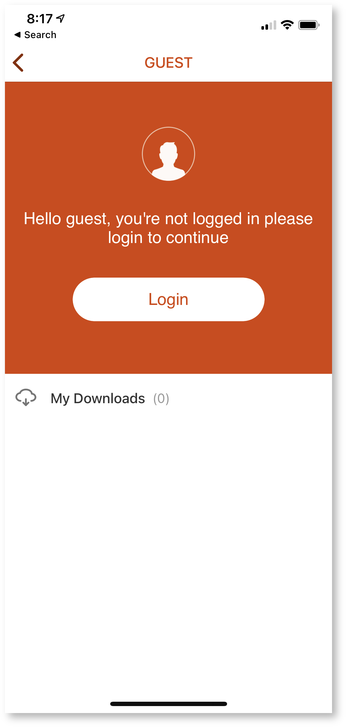 Kaltura login screen on iOS