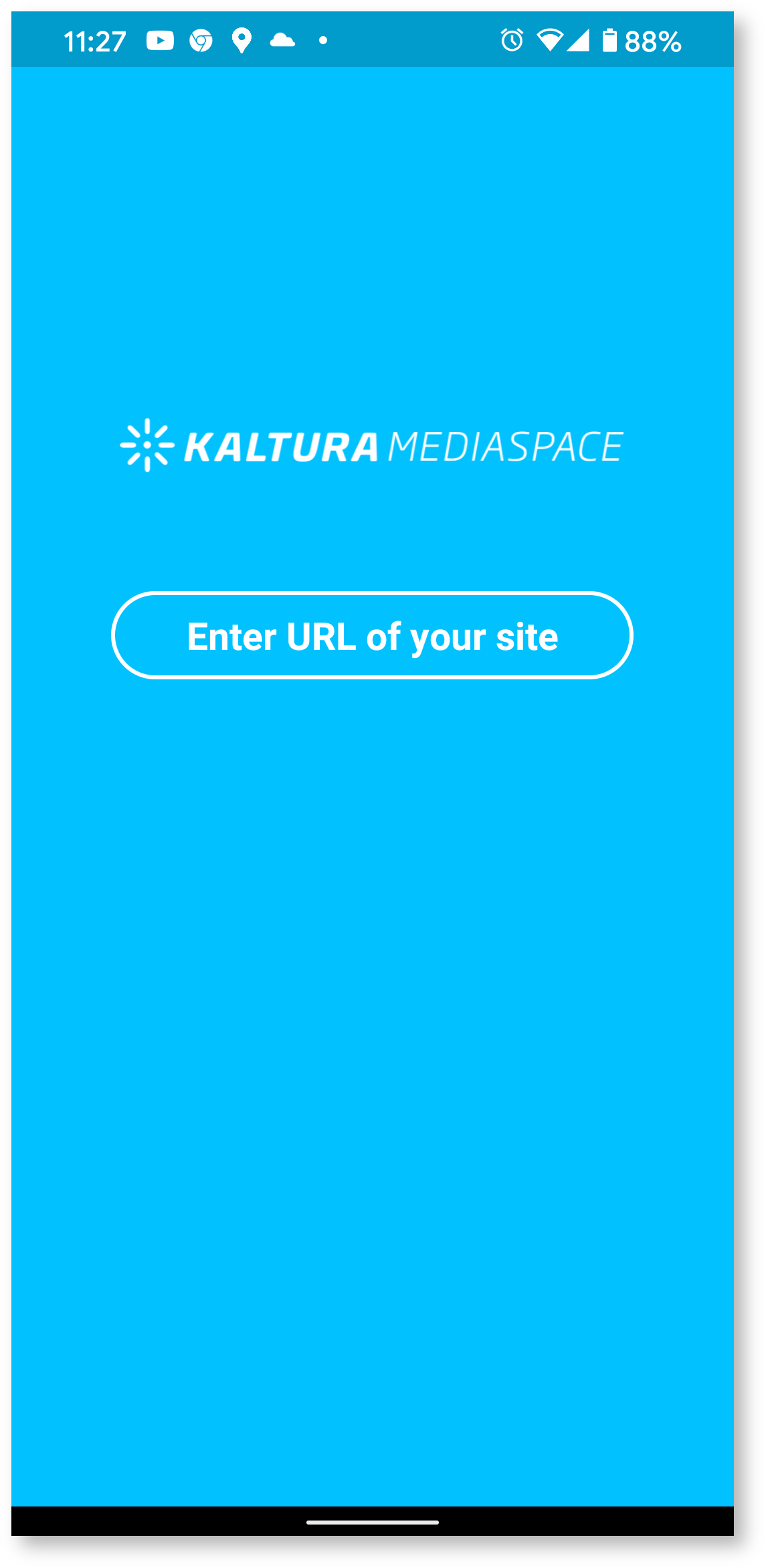 kaltura initial setup screen Android phone