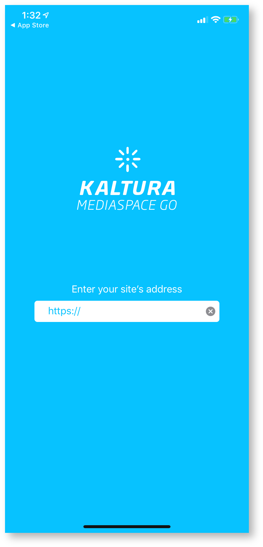 kaltura initial setup screen, enter URL