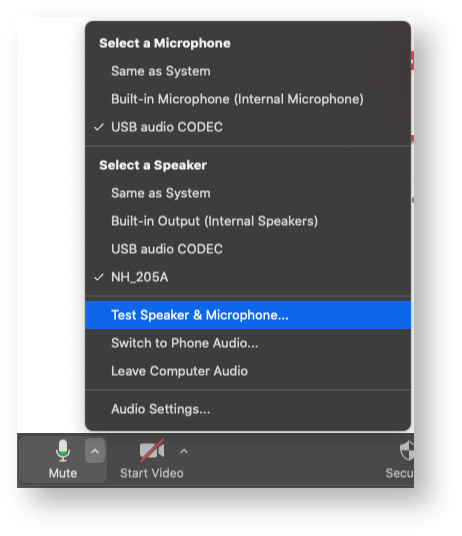 speaker and microphone selection in audio setting