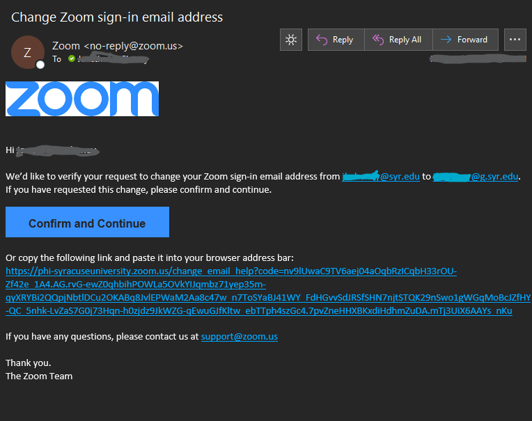 Email to confirm change Zoom email sign-in