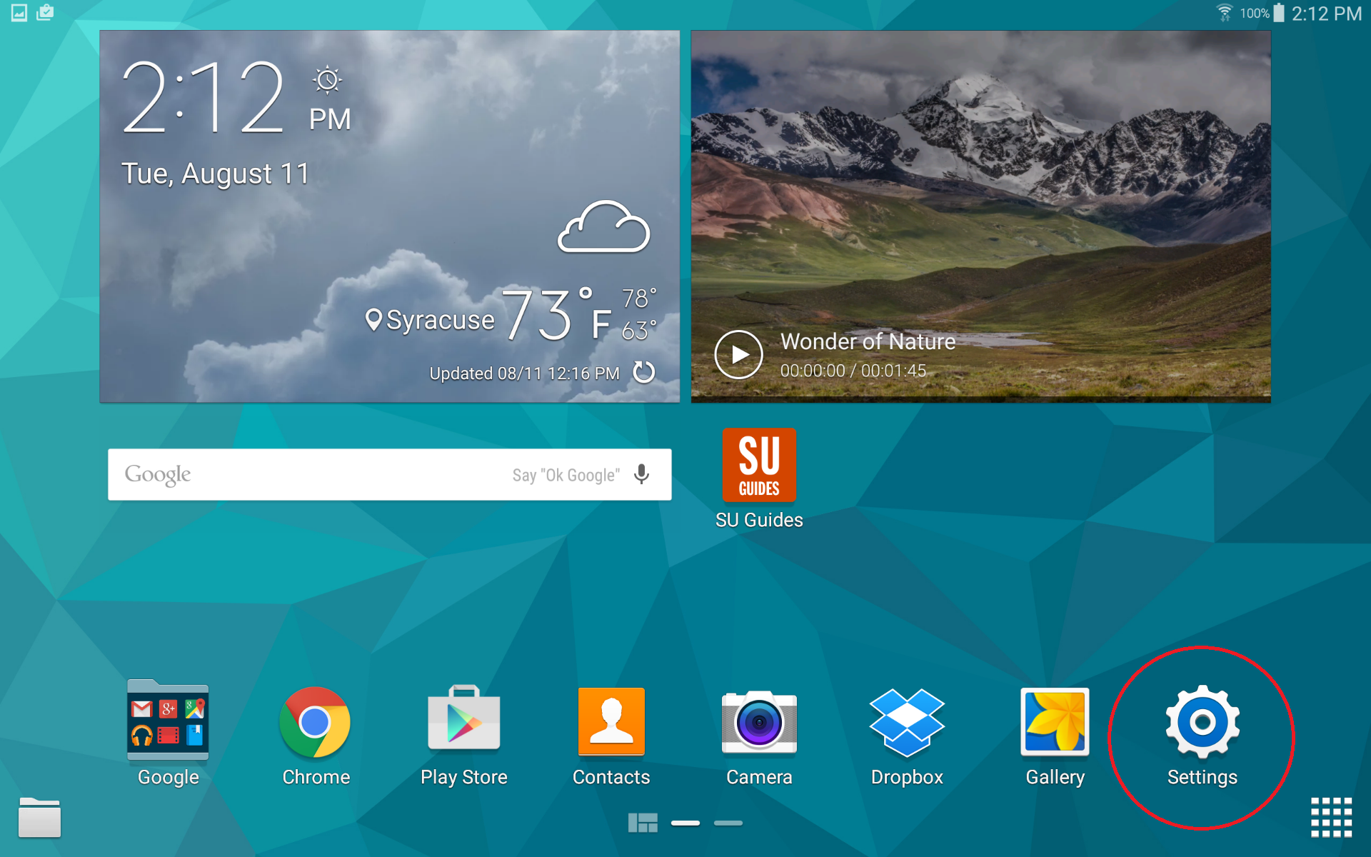 android tablet home screen