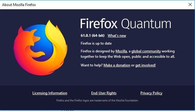 Firefox system info screen