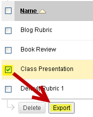 export rubric from Blackboard course