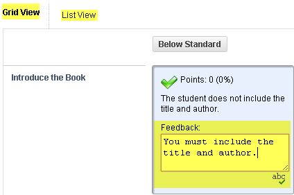 Grid or list view option and optional criterion feedback