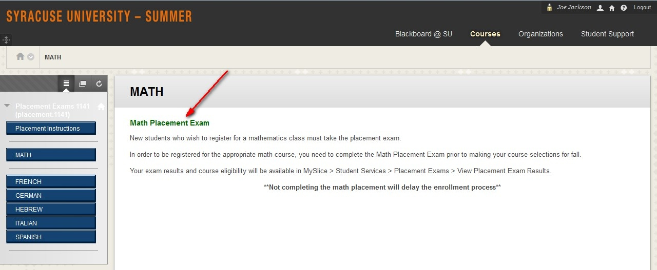 An arrow points to the link in the main section of a Blackboard screen