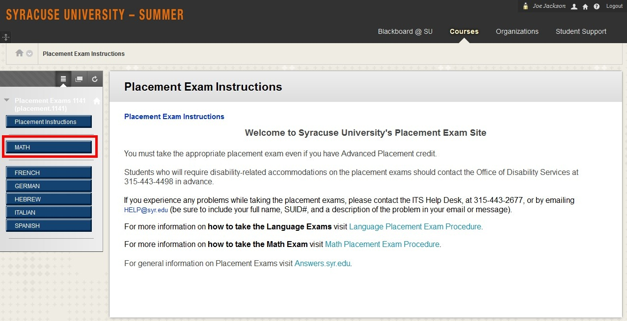 Math Placement Exam Instructions - Placement Exams - Answers