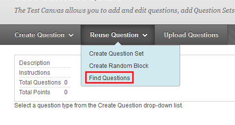 find question to use in test button