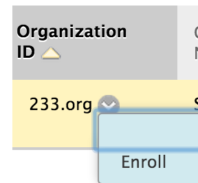 image of action menu for an organization accessed by clicking down arrow