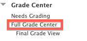 Grade Center Menu, Select Full Grade Cetner