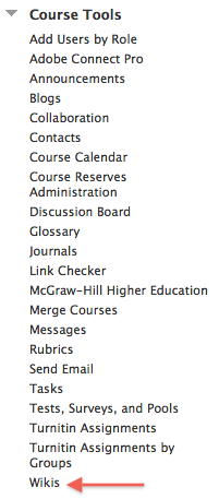 Blackboard Wikis course tool button
