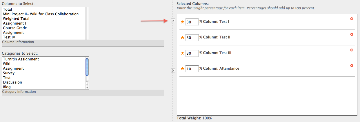 Weighted Column Creation Screen