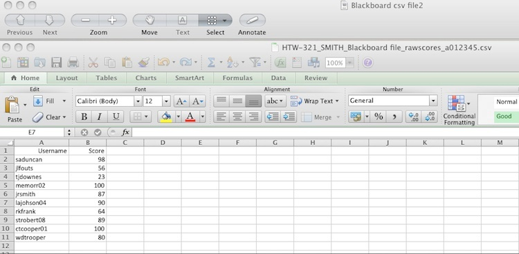 Excel CSV File Example