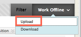 Work Offline Menu, Upload