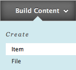 Build an item in a content area button