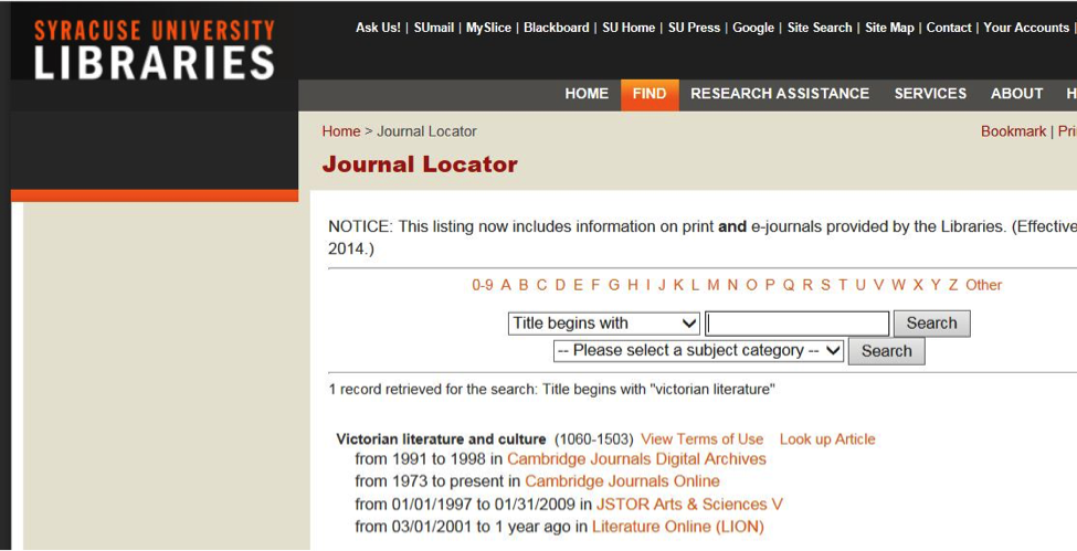 journal locator search page