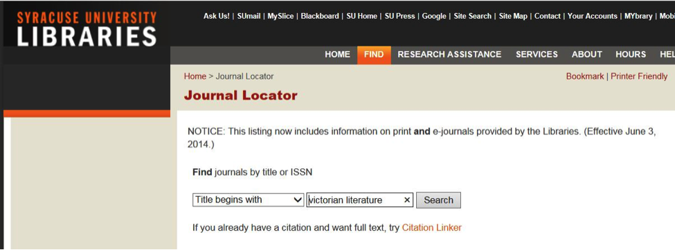 journal locator page