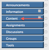 image of Blackboard course menu with Content indicated