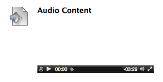 image of audio file link in content area