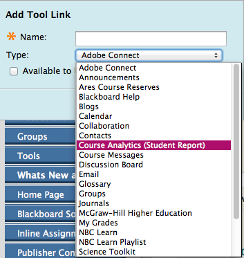 Add Tool Link - Course Analytics