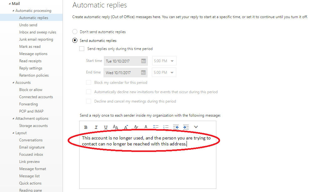 configure the automatic replies text in the edit area