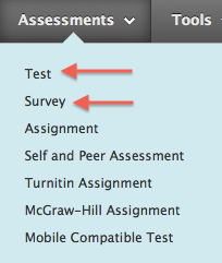 Assessments tool in content area showing test and survey