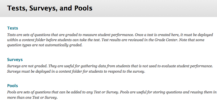 tests, surveys, and pools area
