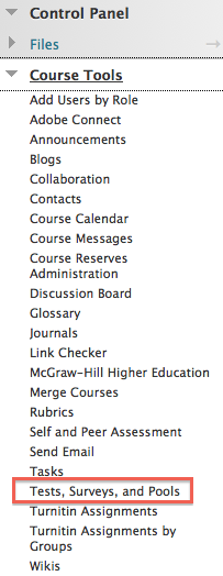 Tests, surveys, and pools tool in Blackboard control panel