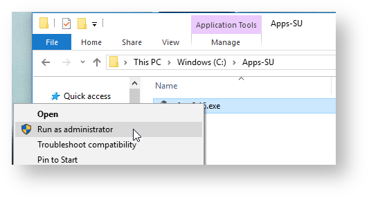 Showing how to run install as admin