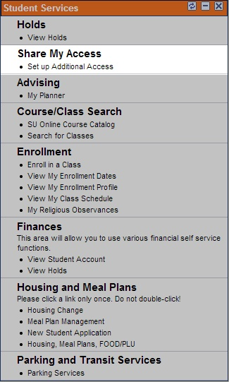 My Slice Student Services Guide to Share My Access