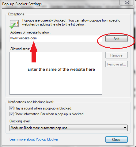 enter websites to allow pop-ups from