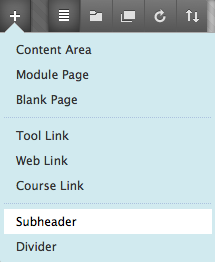 The options menu appears, and the subhead option is highlighted at the bottom of the menu.