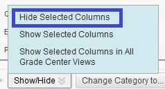 Hide Selected Columns Option