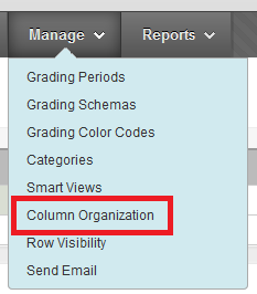Manage Menu, Column Organization Option