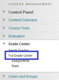 Grade Center Menu, Select Full Grade Center