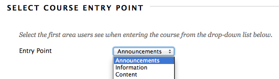 Select Course Entry Point