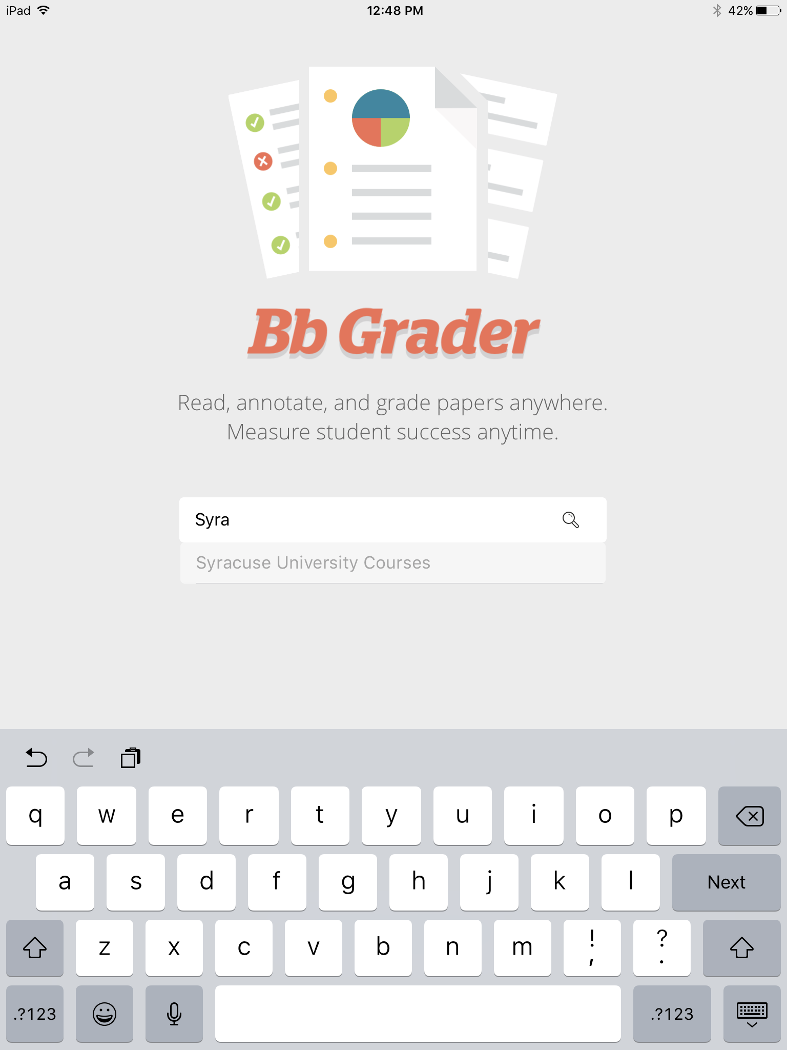 Bb Grader Select Institution Screen