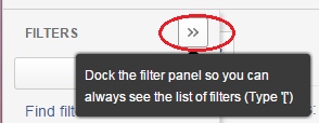 Show button to dock filter screen
