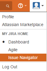 Profile pull-down menu showing Issue Navigator link