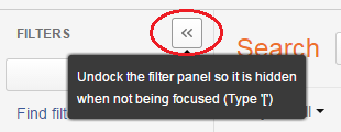 Hide button to undock filter screen