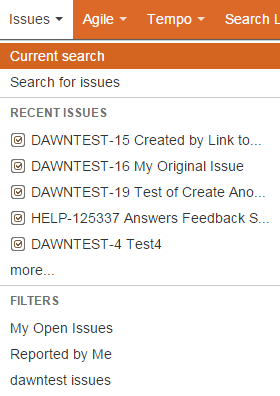 issues menu showing recently viewed issues and favorite filters