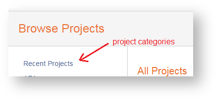 Browse projects screen showing all projects by default