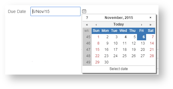 Fill in the due date field using the calendar tool