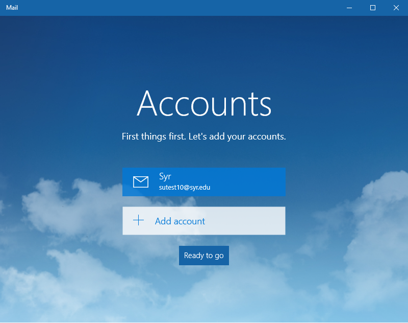 account list for the windows mail application