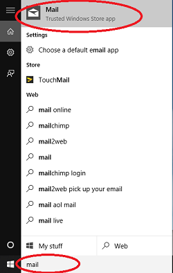 mail option within the windows 8 start menu via searching